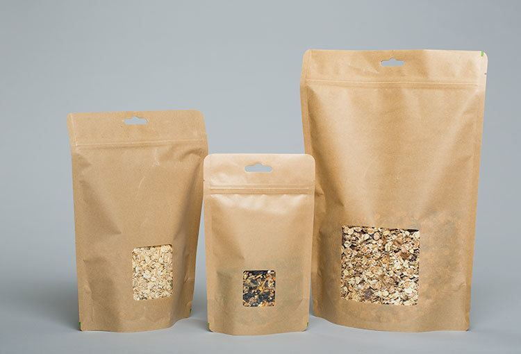 Stand up coffee bags with window