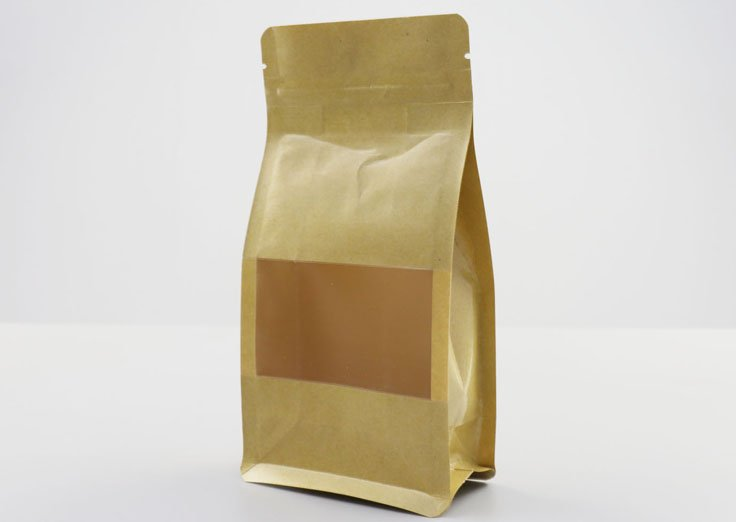 250g Quad Seal Brown Kraft Paper Pouch with Transparent Window