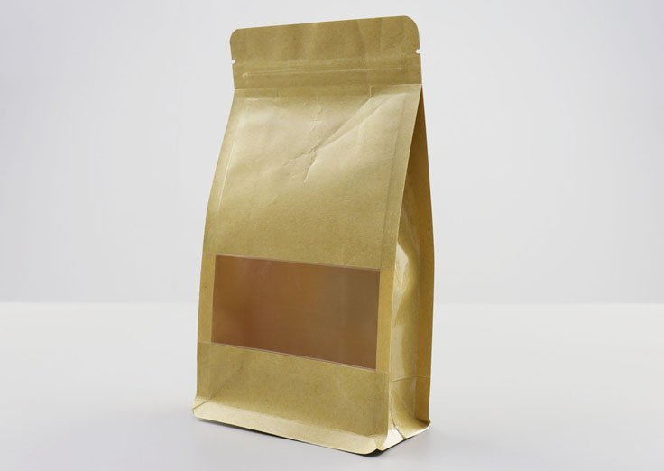 500g Quad Seal Brown Kraft Paper Pouch with Transparent Window