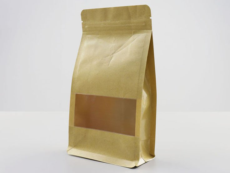 Brown kraft paper Ziplock Pouch with window