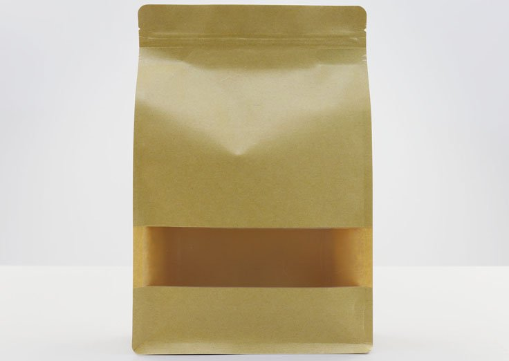 1000g Quad Seal Brown Kraft Paper Pouch with Transparent Window