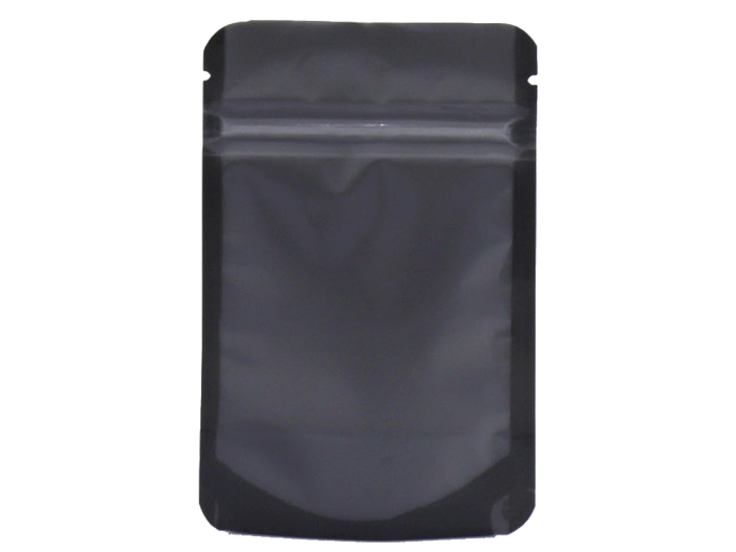 black matte stand up pouch with ziplock attached