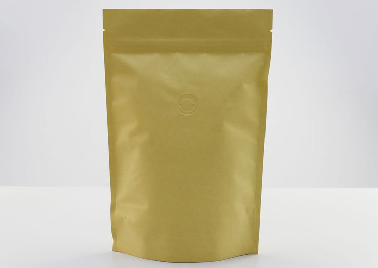 Stand Up Kraft Paper Pouches With Coffee Valve