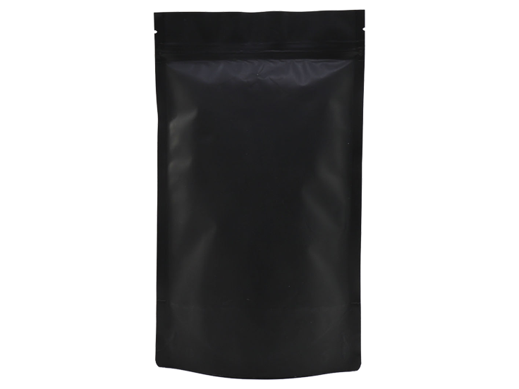 matte black doypack stand up pouch with Zipper
