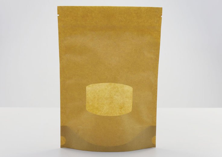 Stand Up Kraft Paper Pouches With Transparent Window