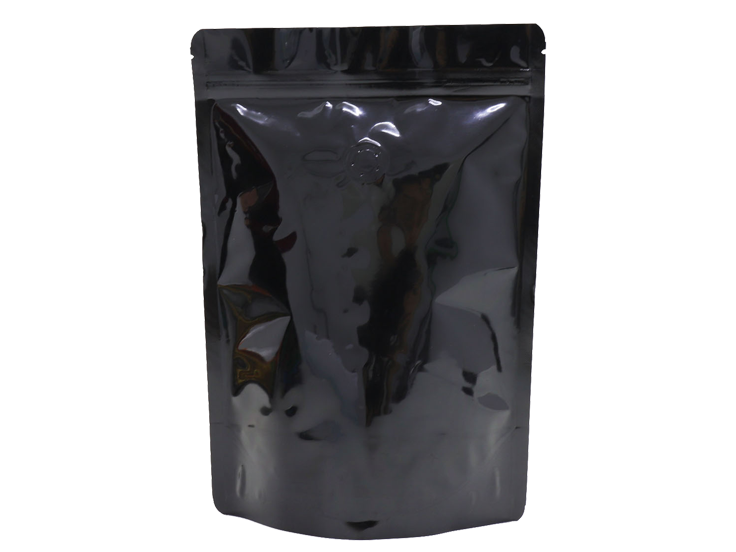 black stand up pouches for 12oz coffee with valve