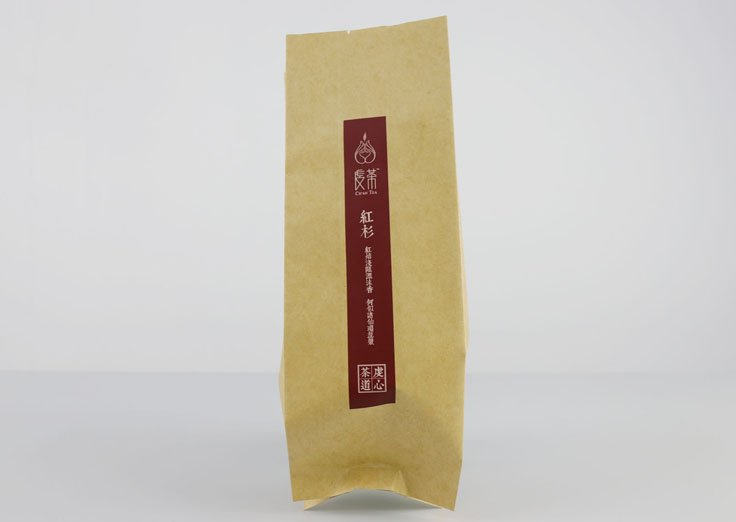 Brown kraft paper fin seal pouch for tea
