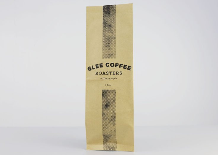 Brown kraft paper fin seal pouch for 1kg coffee