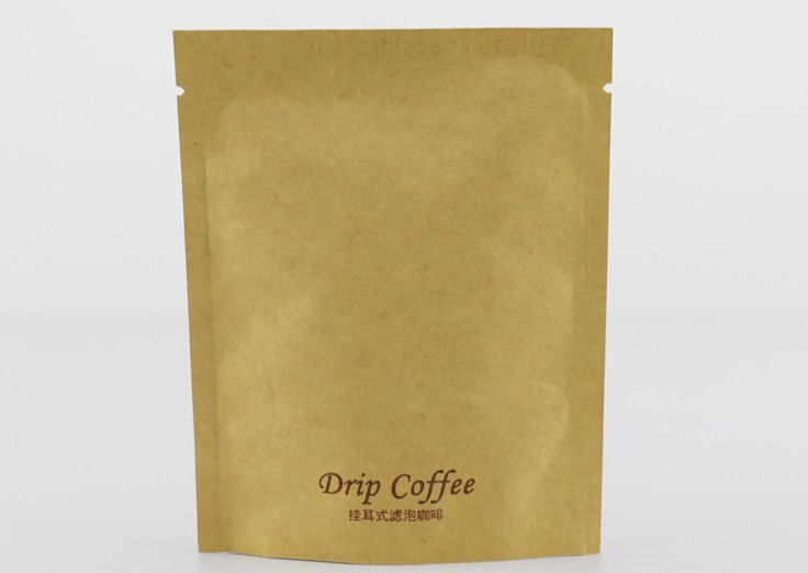 Kraft paper 3 side seal pouch for drip coffee