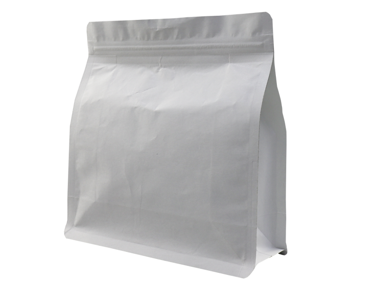 White kraft paper stand up Quad Seal Pouch with ziplock