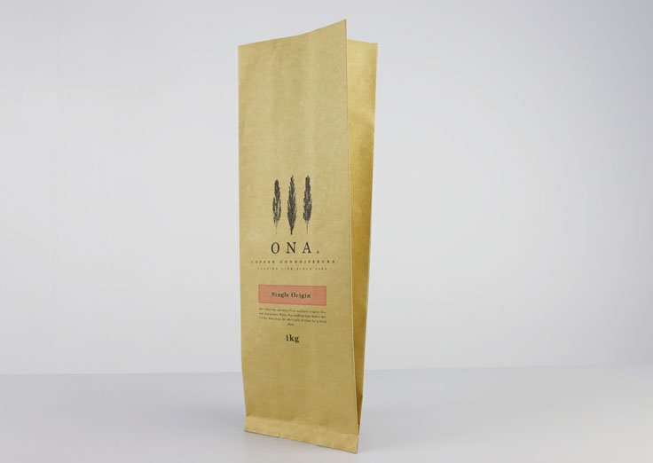 1kg Brown kraft paper Gusset bag with printing for coffee