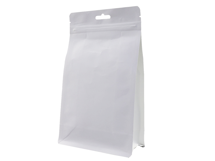 White kraft paper eco friendly stand up pouches with handle