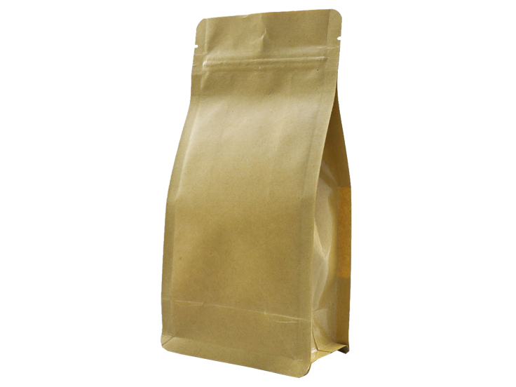 Brown kraft paper stand up Quad Seal Pouch with ziplock