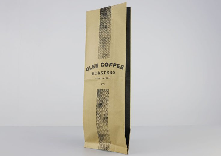 1kg Side Gusset Brown Kraft Paper Pouches with Customized Printed