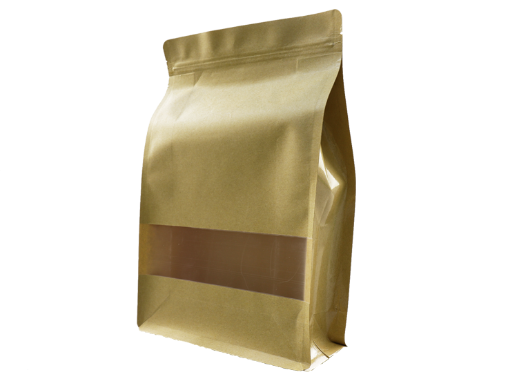 Brown kraft paper stand up pouches with Window