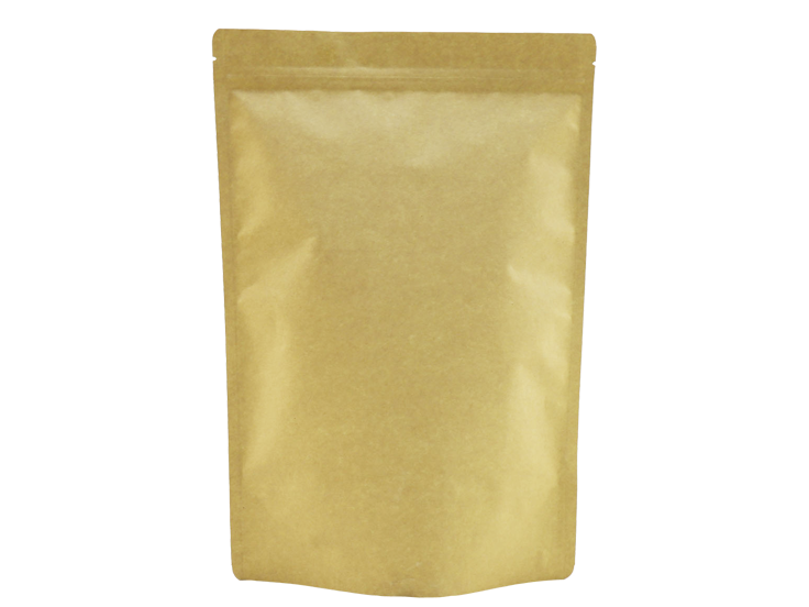 Brown kraft paper biodegradable stand up pouch with ziplock