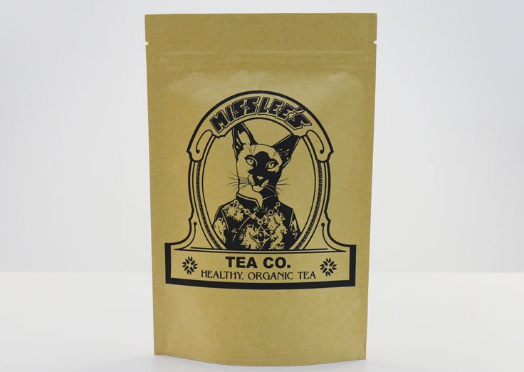 Stand Up Brown Kraft Paper Pouches with Customized Printing for Tea