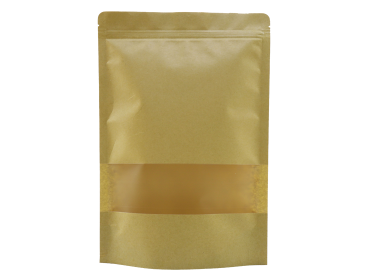 Eco-friendly brown kraft paper stand up pouch with window