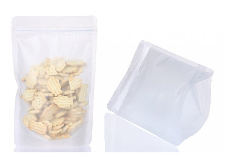 Matte white stand up pouch with ziplock for food