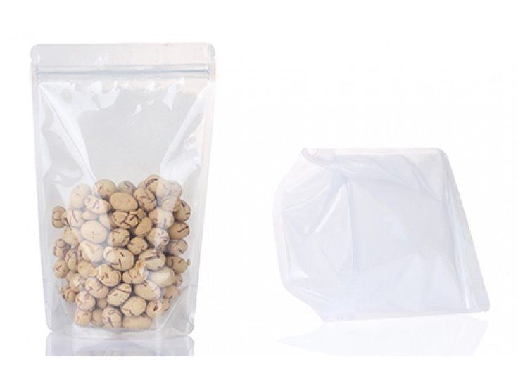 Poly stand up pouch with ziplock for food