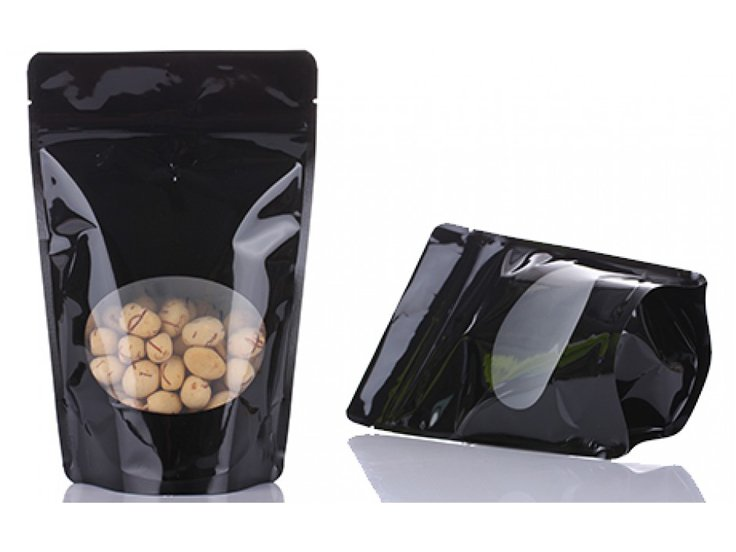 Black printing stand up ziplock pouch with window