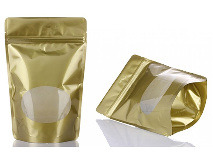 Gold printing stand up ziplock pouch with window