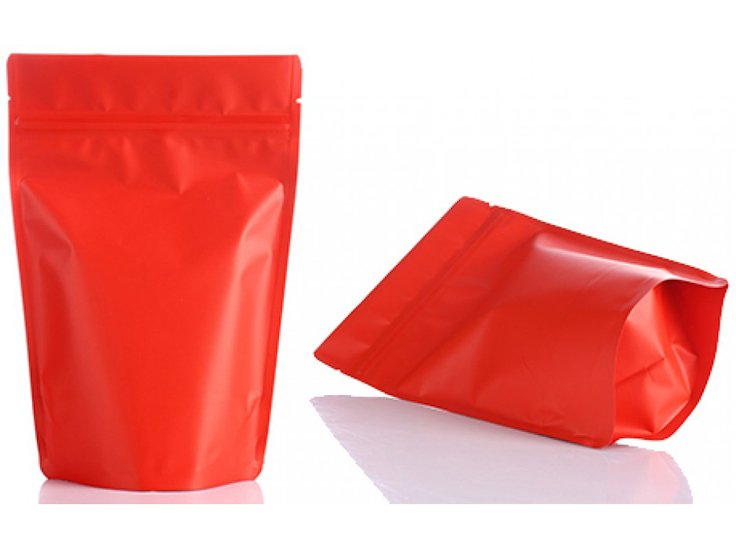 stand up ziplock pouch with red printing