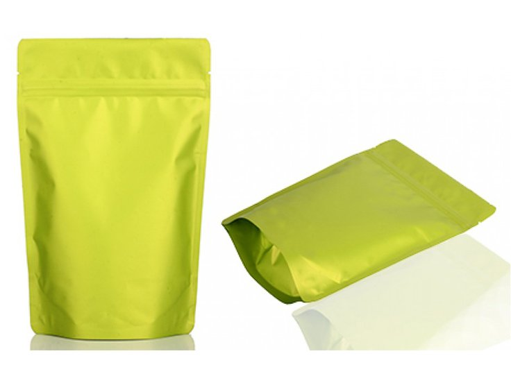 stand up ziplock pouch with green printing