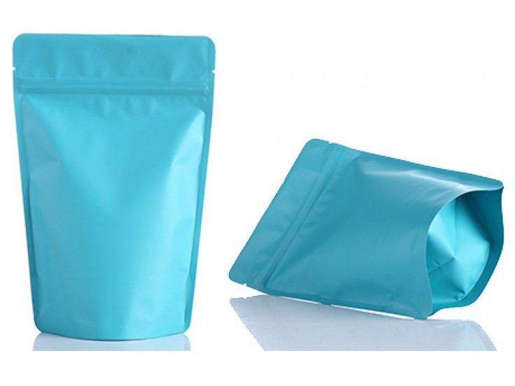stand up ziplock pouch with blue printing