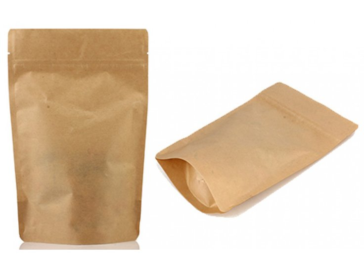 Brown Kraft paper stand up pouch with resealable ziplock