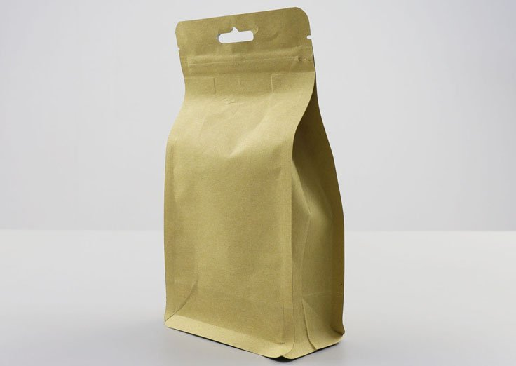 250g Quad Seal Brown Kraft Paper Pouch with Resealable Ziplock