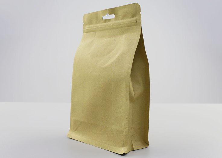 500g Quad Seal Brown Kraft Paper Pouch with Resealable Ziplock
