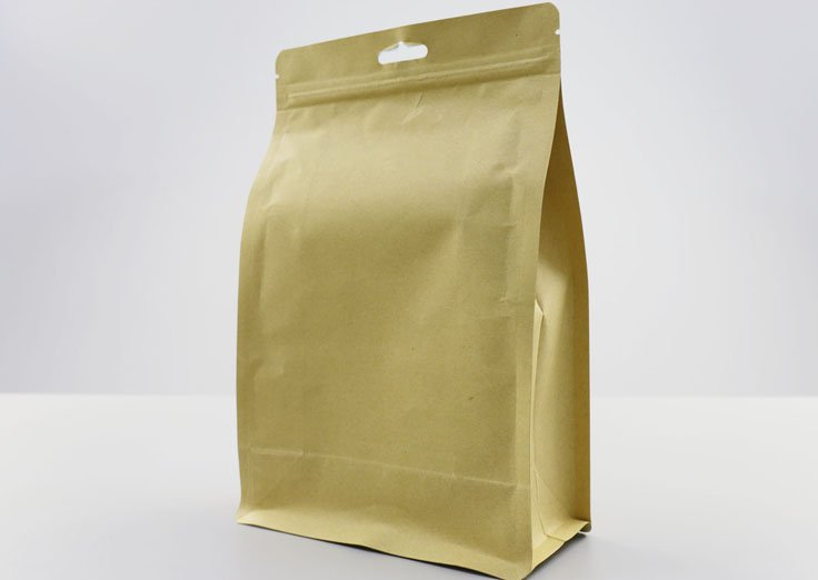 1000g Quad Seal Brown Kraft Paper Pouch with Resealable Ziplock