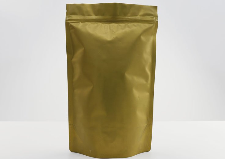 Stand Up Aluminum Foil Matte Gold Bags with Ziplock