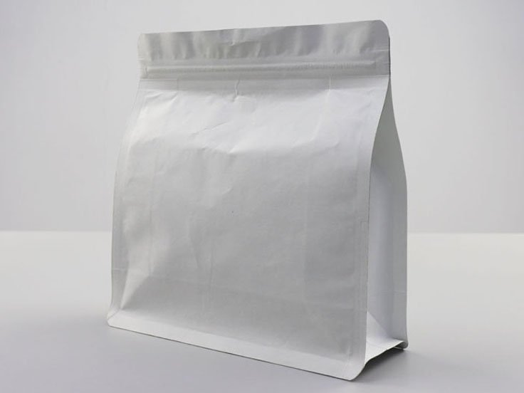 White kraft paper quad seal Ziplock Pouch with resealable zipper