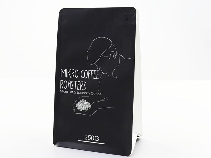 250g stand up flat bottom pouch with pocket zipper for coffee