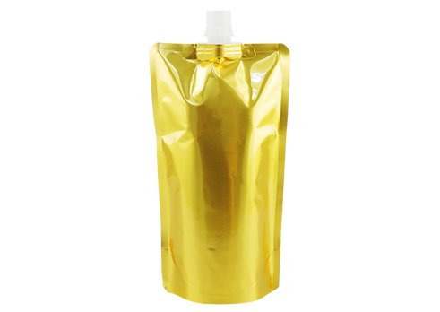 gold stand up wine pouch