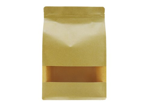 Brown kraft paper flat bottom coffee pouch with zipper and window