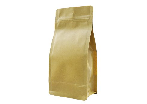 Brown kraft paper unprinted flat bottom coffee pouch with zipper
