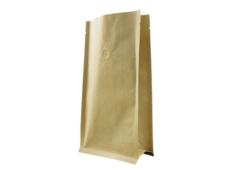Brwon kraft paper coffee pouch with degass valve