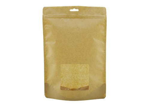 Brwon kraft paper stand up coffee pouch with window and eurohole