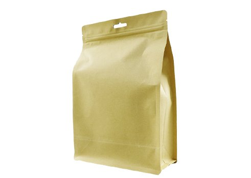 Flat bottom unprinted kraft paper coffee pouch with zipper
