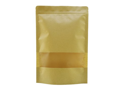 Kraft paper coffee pouch with zipper and window