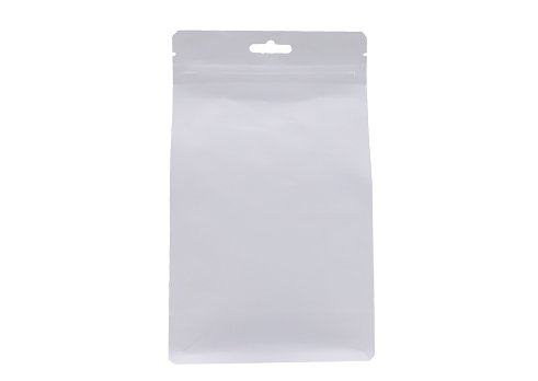 Matte unprinted white kraft paper coffee pouch with zipper and eurohole