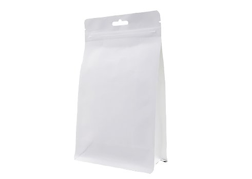 Matte white unprinted coffee pouch with zipper