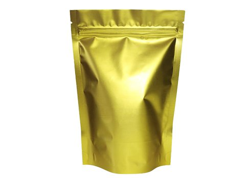 Overall gold color stand up coffee pouch with zipper