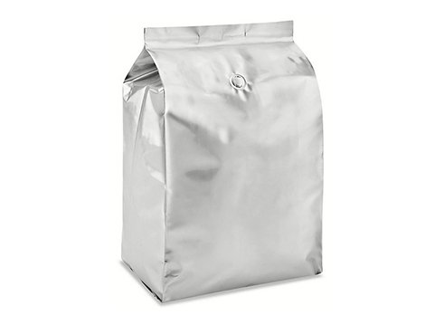 Shiny aluminum coffee pouch with zipper and valve