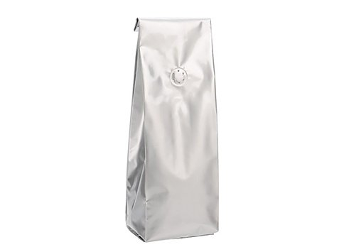 Shiny aluminum side gusset coffee pouch with degass valve
