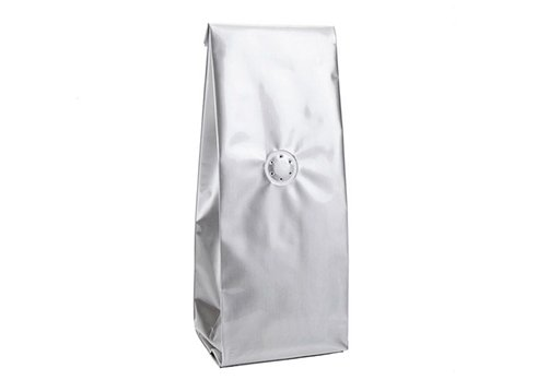 Shiny aluminum side gusset coffee pouch with valve