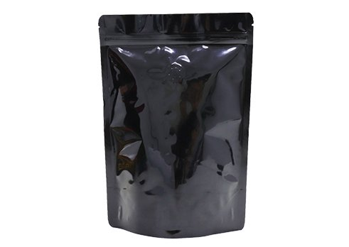 Shiny black aluminum coffee pouch with zipper